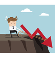 businessman pull up rope for stop down red arrow vector image