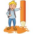 Cartoon schoolboy near big pencil esp10 vector image