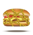 fast food burger with danger warning tapes vector image