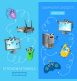 funny computer gadgets banner set vector image