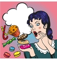Woman with sweets candy and cakes vector image
