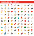 100 museum icons set isometric 3d style vector image