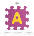 April 2017 puzzle calendar vector image vector image