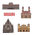 Uruguay architecture tourist attraction icons vector image