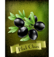 Background with black olives and a ribbon vector image