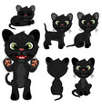 black kitten in different poses in cartoon style vector image