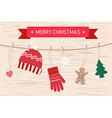 Christmas Decoration Over Wooden Background Decora vector image