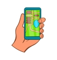 Hand with smartphone GPS navigator icon vector image
