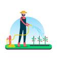 happy farm man taking care of organic fruit crops vector image