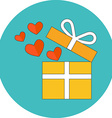 Open gift box with flying hearts Flat design Icon vector image