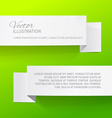 Two white sheets of paper on a green background vector image