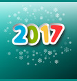 2017 year colorful paper cut title vector image