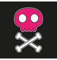 Pink skull with crossbones vector image