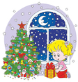 Girl and Christmas gift vector image