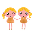 Cute little retro twins vector image