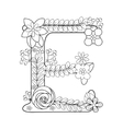 Letter E coloring book for adults vector image