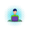 Businesswoman using laptop icon comics style vector image