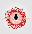 dancing ballerina wearing red heart dress vector image
