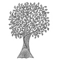 Hand drawn tree with pattern vector image
