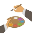 Hands Holding Paint And Brush vector image