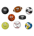 Happy sporting balls and equipment vector image
