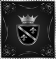 vintage post mark with silver heraldic elements - vector image