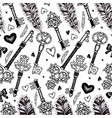 seamless pattern with feathers and keys vector image