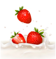 Red strawberry fruits falling into the milky vector image vector image
