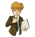 A handsome business icon holding a binder vector image vector image