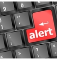 Computer keyboard with attention key alert - vector image