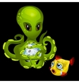Evil green octopus with magic sphere and goldfish vector image