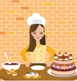 girls woman chef cooking baking cake in kitchen vector image