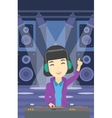Smiling DJ mixing music on turntables vector image