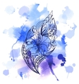 Watercolor background with lace graphic ornament vector image