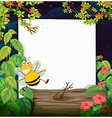 Bee and a white board vector image vector image