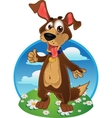Fun dog on a color background vector image vector image