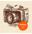Vintage travel and holiday background with camera vector image