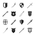 Sword and shield icons set vector image