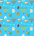 Happy Hanukkah seamless pattern with dreidel game vector image