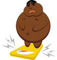 a fat african american on the scales vector image