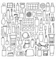 Decorative cosmetics doodle set vector image