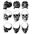 detailed graphic black and white human skulls set vector image
