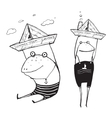 Frog Sailing Toy Paper Boats Outline Drawing vector image