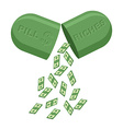 Pill for rich Medicine for wealth In tablet a lot vector image