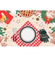 Christmas Dinner on wood table Design vector image