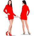 Two women in red vector
