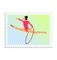 stamp with image of gymnastics vector image vector image