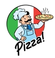 Emblem of funny cook or baker with pizza vector image