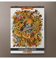 Cartoon colorful hand drawn doodles Autumn poster vector image