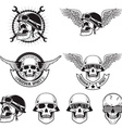 Freedom spirit Set of skulls in biker helmets vector image